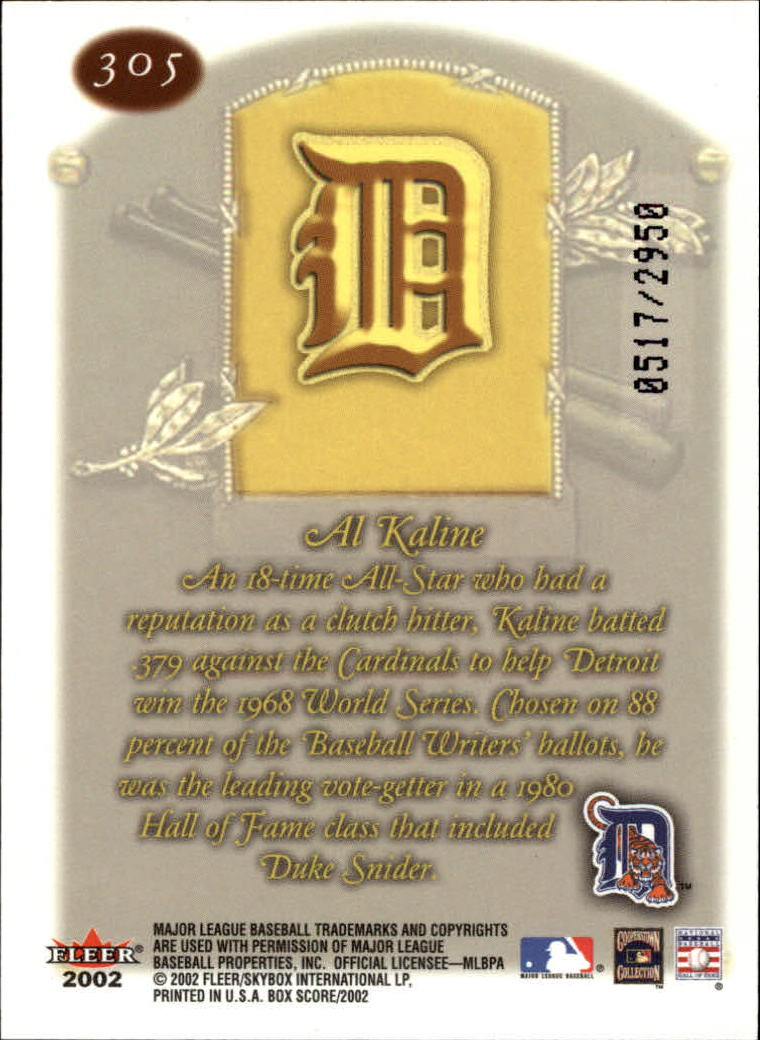 2002 Fleer Box Score #305 Al Kaline CT back image