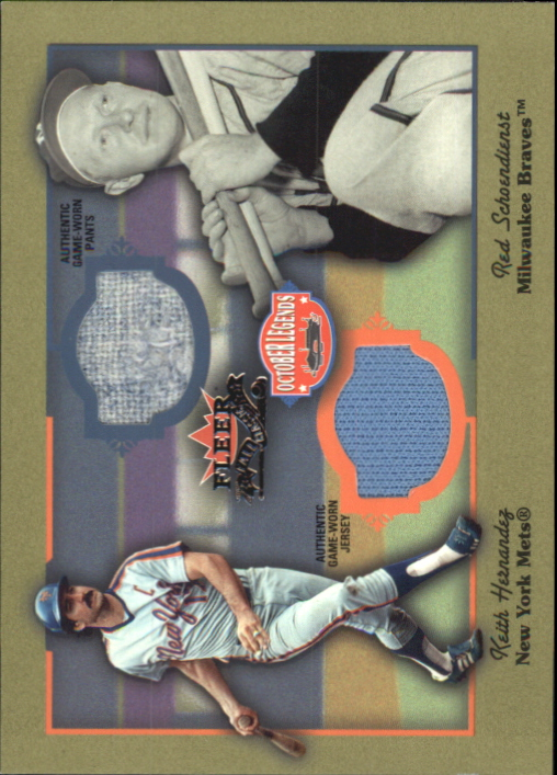 2002 Fleer Fall Classics October Legends Game Used Dual #8 Keith Hernandez Jsy/Red Schoendienst Pants