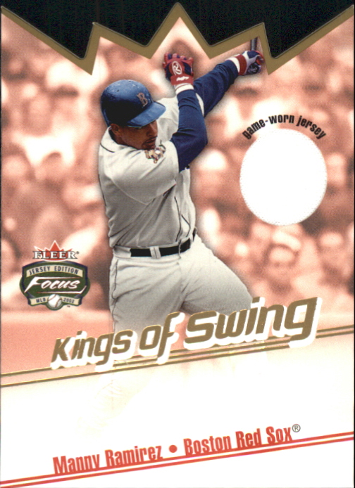 2002 Fleer Focus JE Kings of Swing Game Used #7 Manny Ramirez Jsy