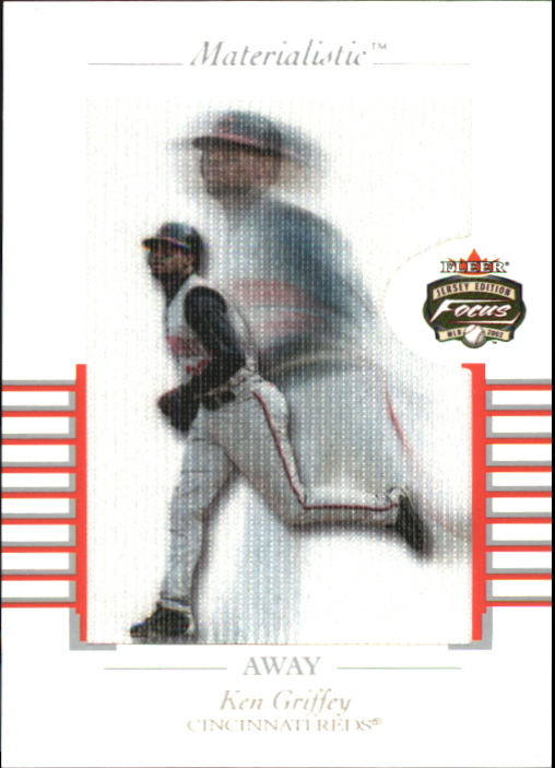 2002 Fleer Focus JE Materialistic Away #10 Ken Griffey Jr.