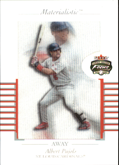 2002 Fleer Focus JE Materialistic Away #13 Albert Pujols