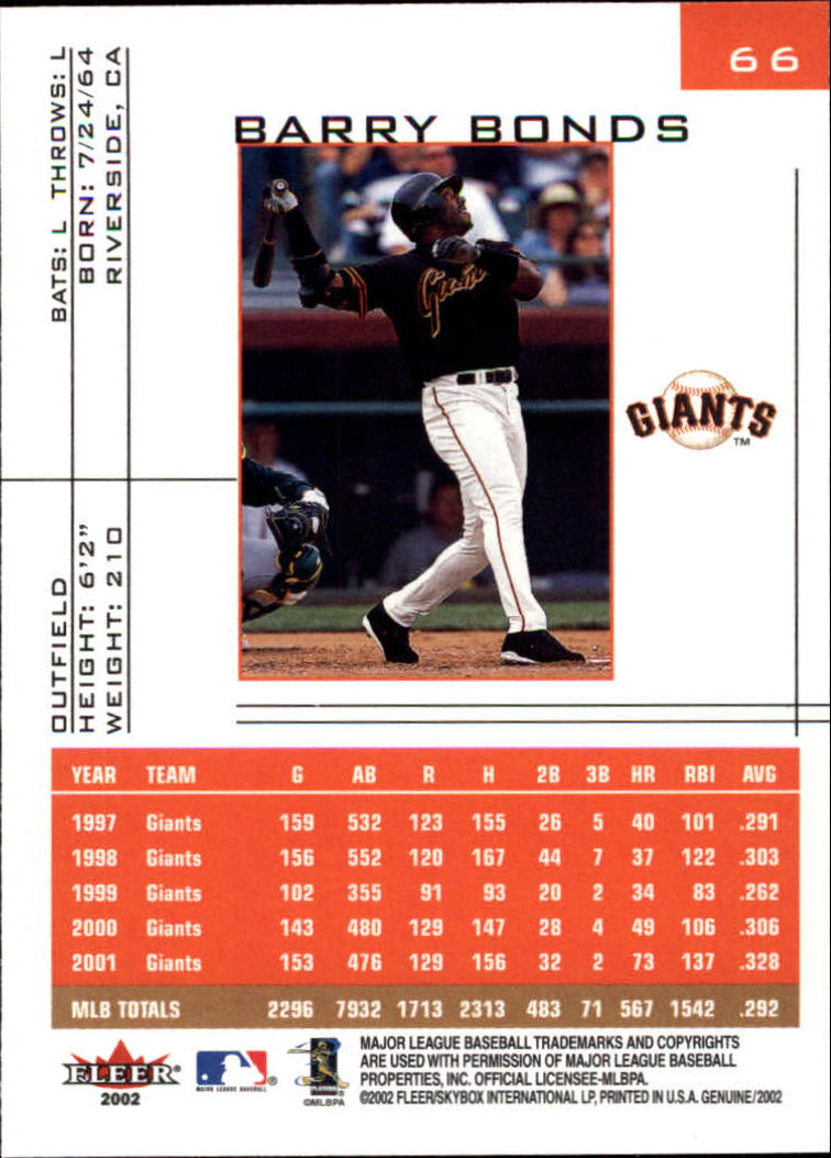 2002 Fleer Genuine #66 Barry Bonds back image