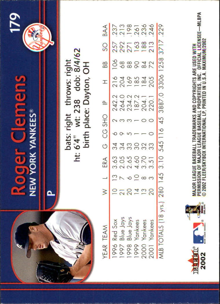 2002 Fleer Maximum #179 Roger Clemens back image