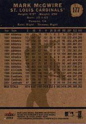 2002 Fleer Tradition #177 Mark McGwire back image