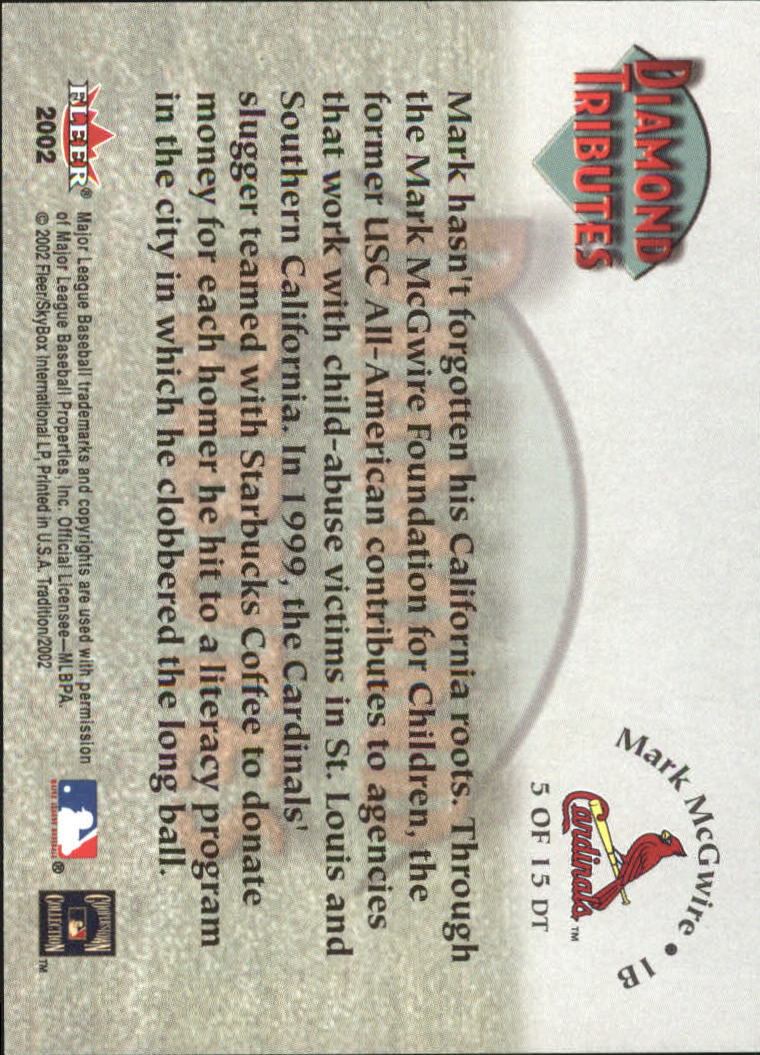 2002 Fleer Tradition Diamond Tributes #5 Mark McGwire back image