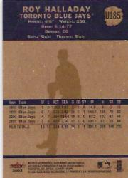 2002 Fleer Tradition Update #U185 Roy Halladay back image