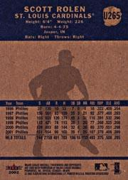 2002 Fleer Tradition Update #U265 Scott Rolen back image