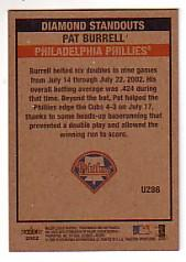 2002 Fleer Tradition Update #U286 Pat Burrell DS back image
