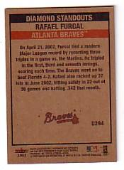 2002 Fleer Tradition Update #U294 Rafael Furcal DS back image