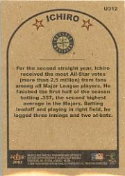 2002 Fleer Tradition Update #U312 Ichiro Suzuki AS back image
