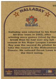 2002 Fleer Tradition Update #U321 Roy Halladay AS back image