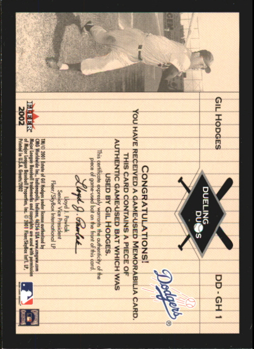 2002 Greats of the Game Dueling Duos Game Used Single #GH1 Yogi Berra/Gil Hodges Bat back image