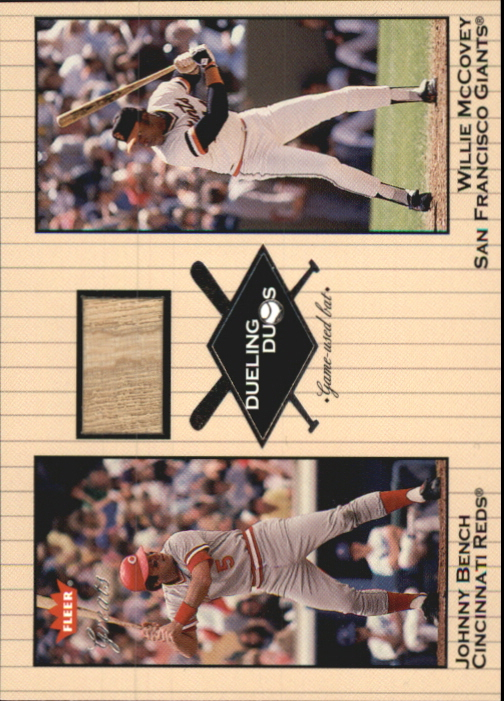 2002 Greats of the Game Dueling Duos Game Used Single #JB2 Willie McCovey/Johnny Bench Bat