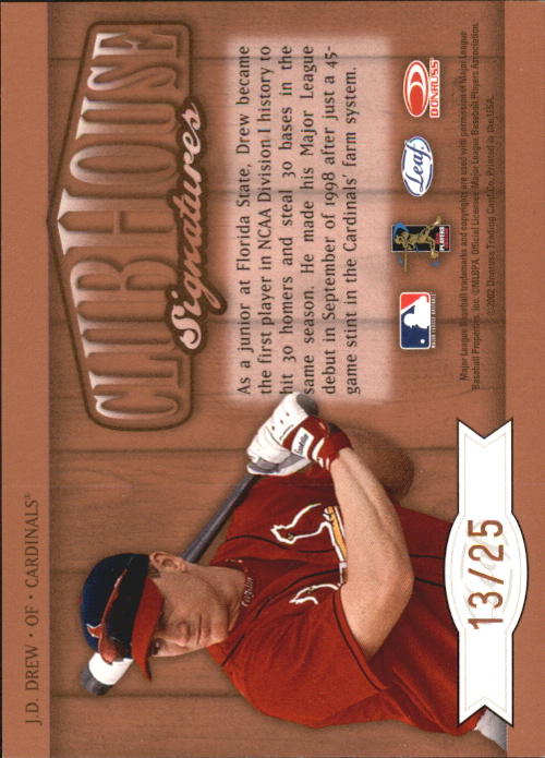 2002 Leaf Clubhouse Signatures Bronze #13 J.D. Drew/25 back image