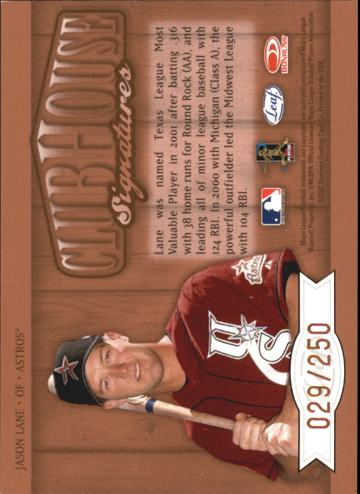 2002 Leaf Clubhouse Signatures Bronze #14 Jason Lane/250 back image