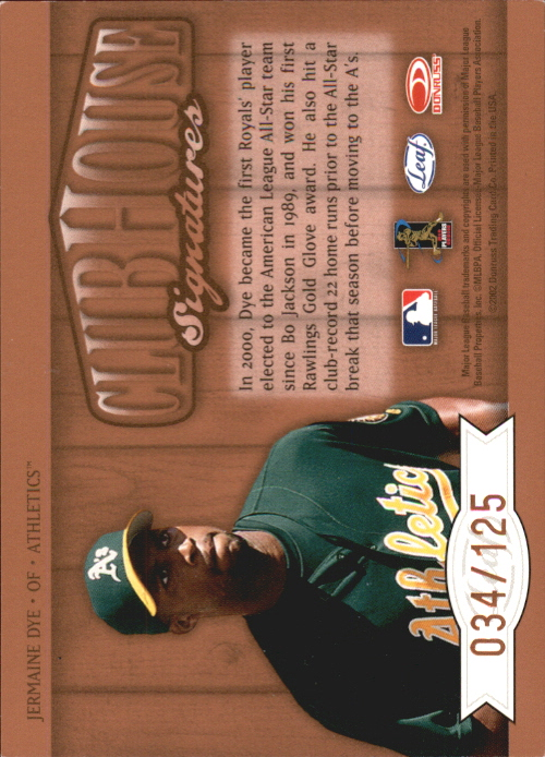 2002 Leaf Clubhouse Signatures Bronze #15 Jermaine Dye/125 back image