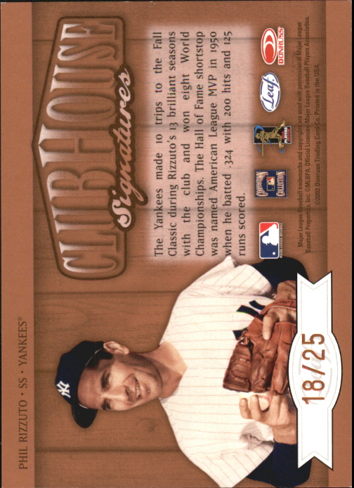 2002 Leaf Clubhouse Signatures Bronze #24 Phil Rizzuto/25 back image