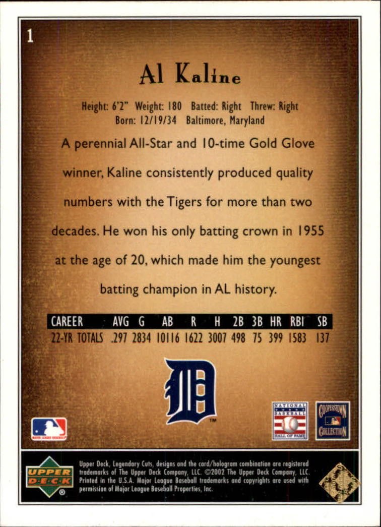 2002 SP Legendary Cuts #1 Al Kaline back image