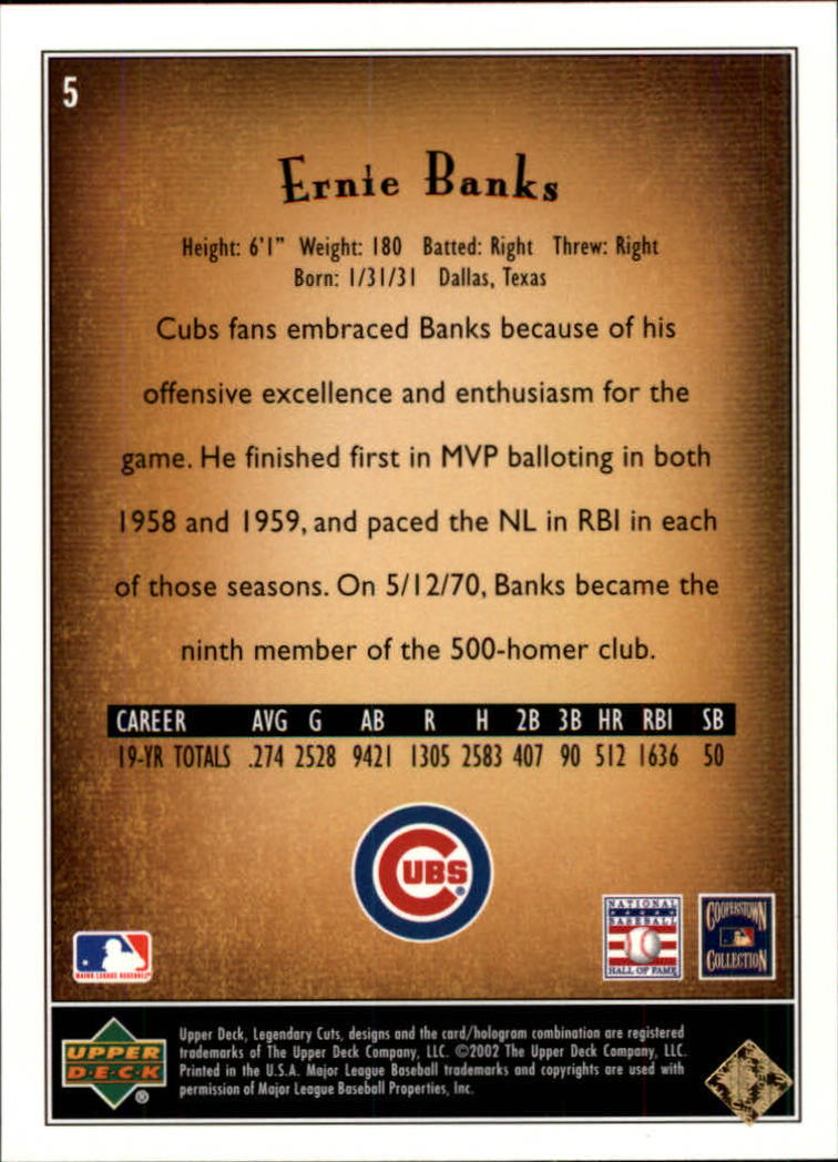 2002 SP Legendary Cuts #5 Ernie Banks back image