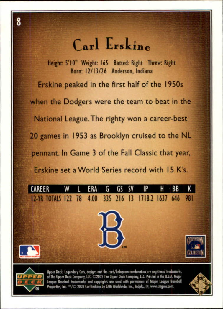 2002 SP Legendary Cuts #8 Carl Erskine back image