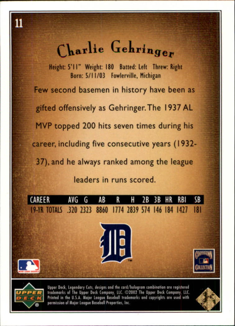 2002 SP Legendary Cuts #11 Charlie Gehringer back image