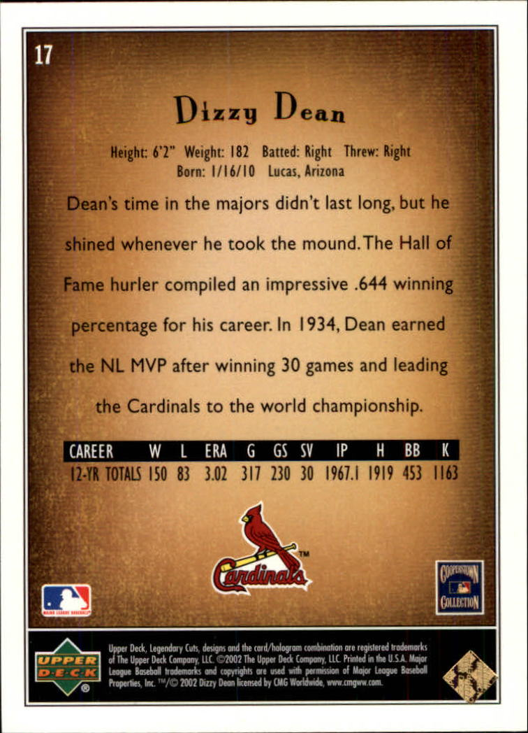2002 SP Legendary Cuts #17 Dizzy Dean back image