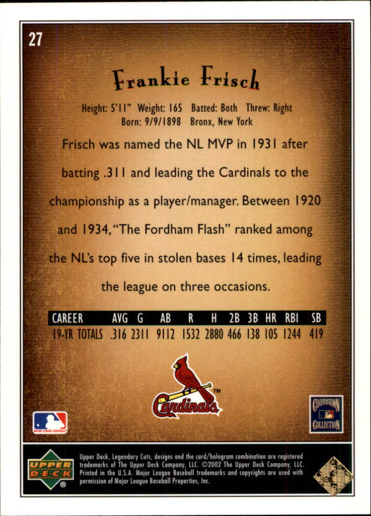 2002 SP Legendary Cuts #27 Frankie Frisch back image