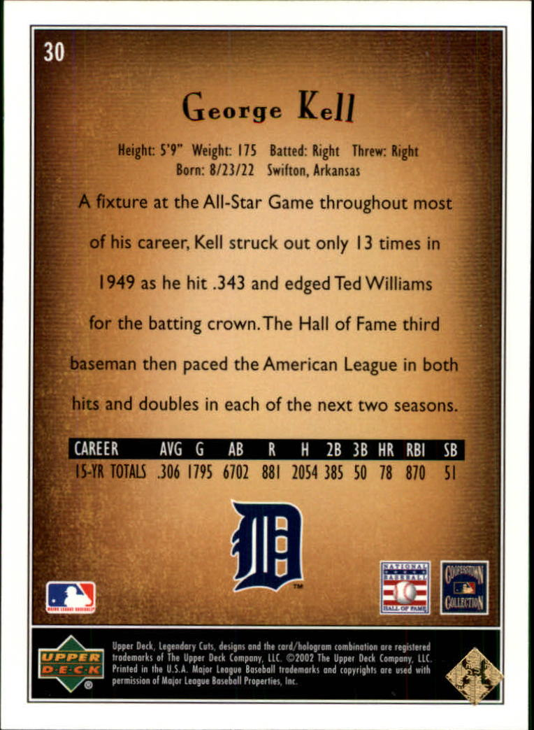 2002 SP Legendary Cuts #30 George Kell back image