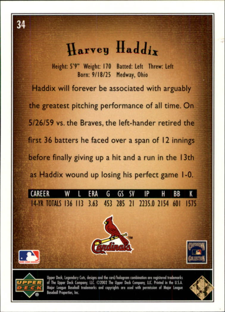 2002 SP Legendary Cuts #34 Harvey Haddix back image