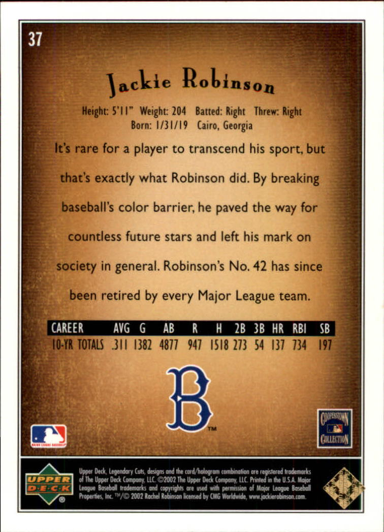 2002 SP Legendary Cuts #37 Jackie Robinson back image
