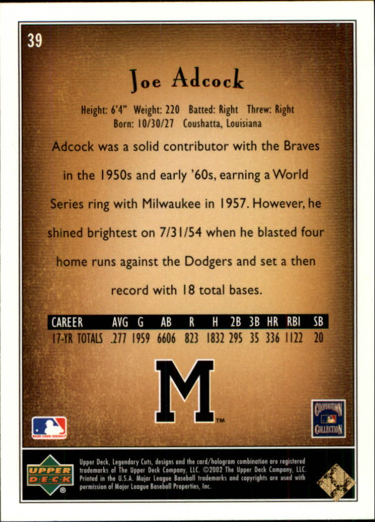 2002 SP Legendary Cuts #39 Joe Adcock back image