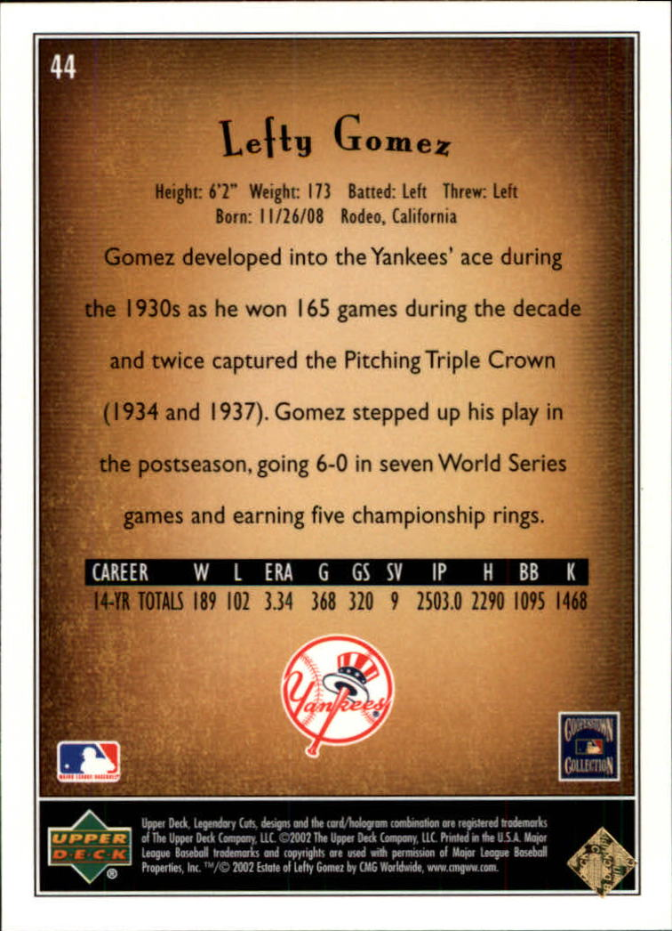 2002 SP Legendary Cuts #44 Lefty Gomez back image