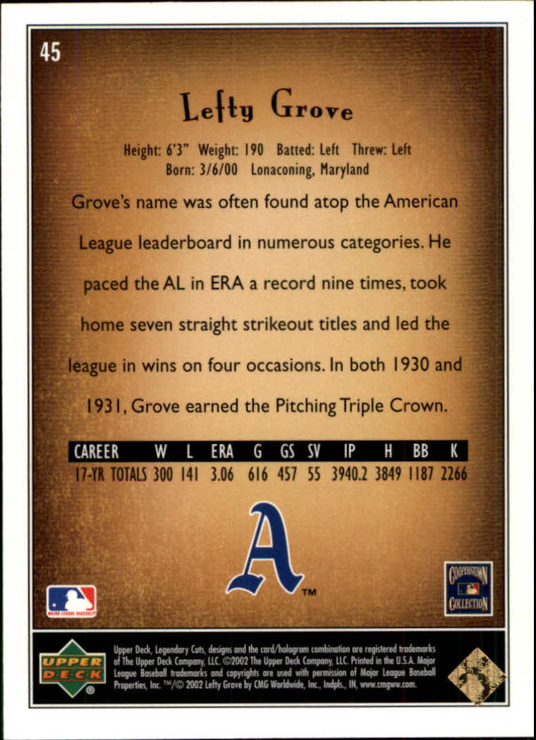 2002 SP Legendary Cuts #45 Lefty Grove back image