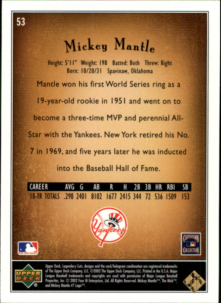 2002 SP Legendary Cuts #53 Mickey Mantle back image