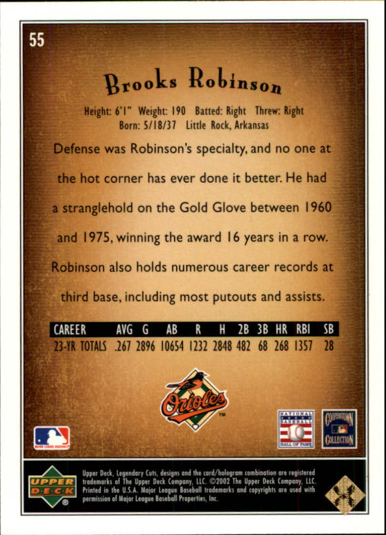 2002 SP Legendary Cuts #55 Brooks Robinson back image