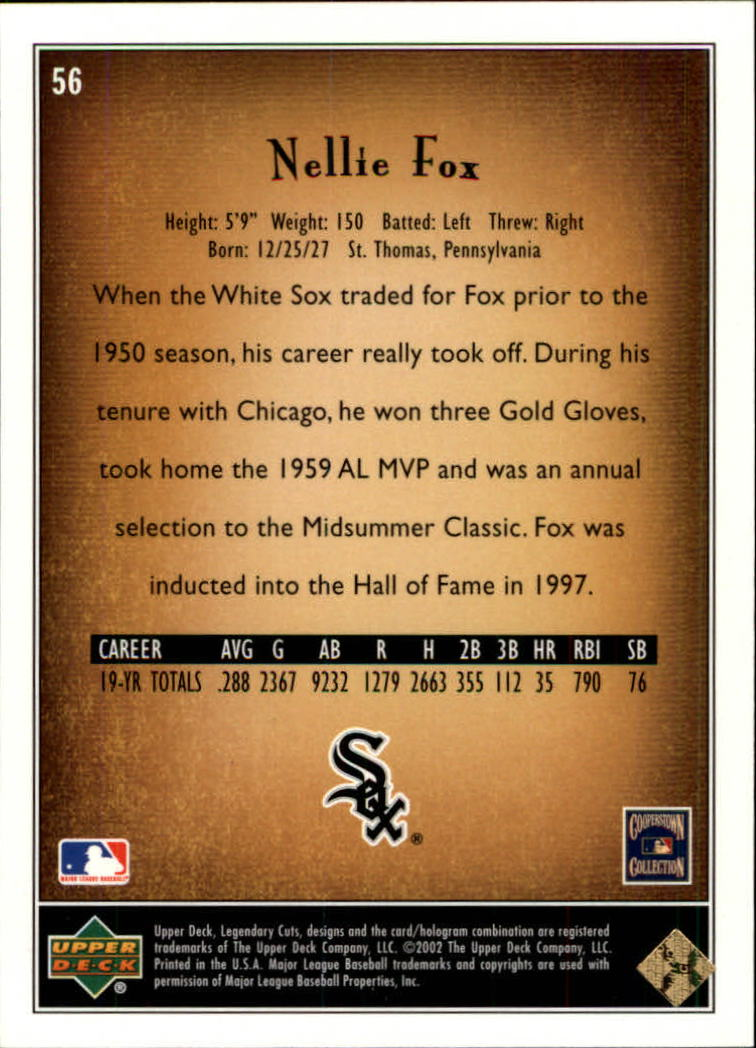 2002 SP Legendary Cuts #56 Nellie Fox back image