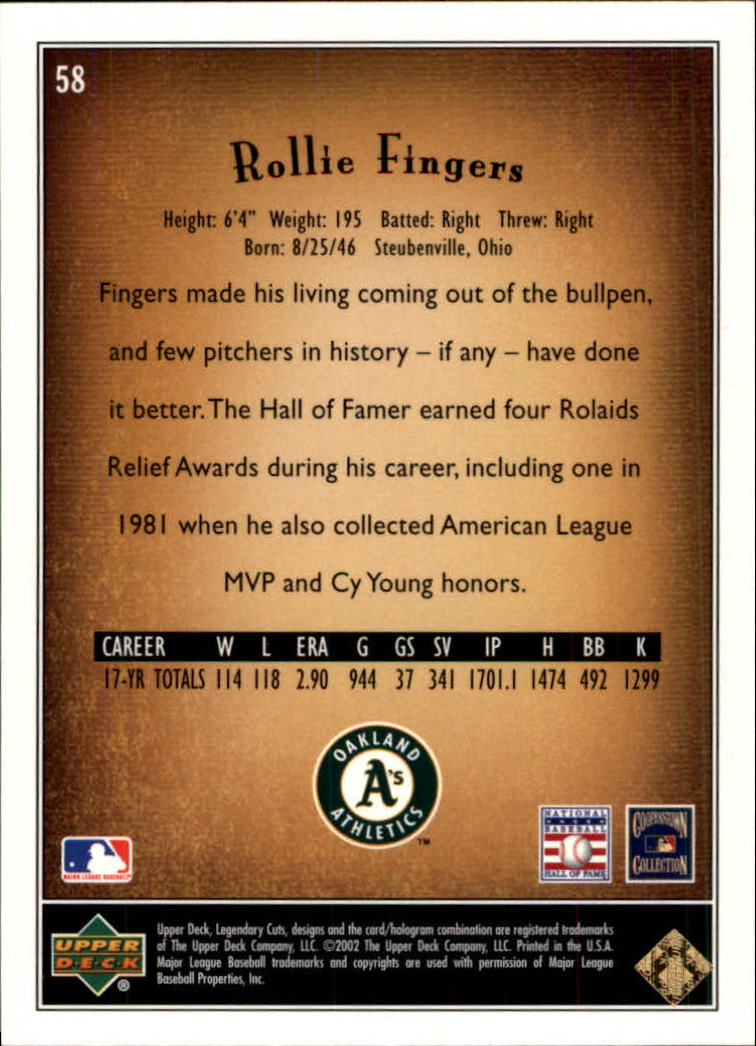 2002 SP Legendary Cuts #58 Rollie Fingers back image