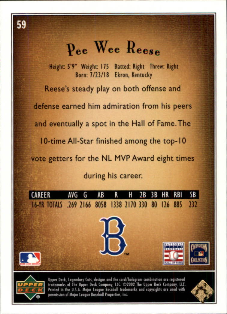 2002 SP Legendary Cuts #59 Pee Wee Reese back image