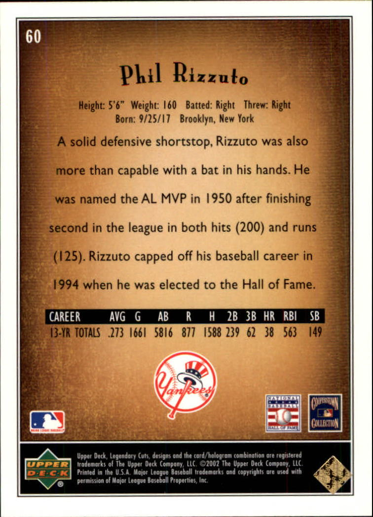 2002 SP Legendary Cuts #60 Phil Rizzuto back image