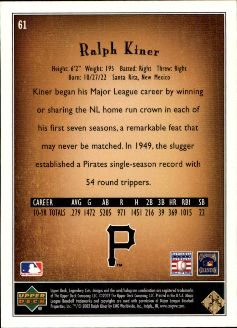 2002 SP Legendary Cuts #61 Ralph Kiner back image