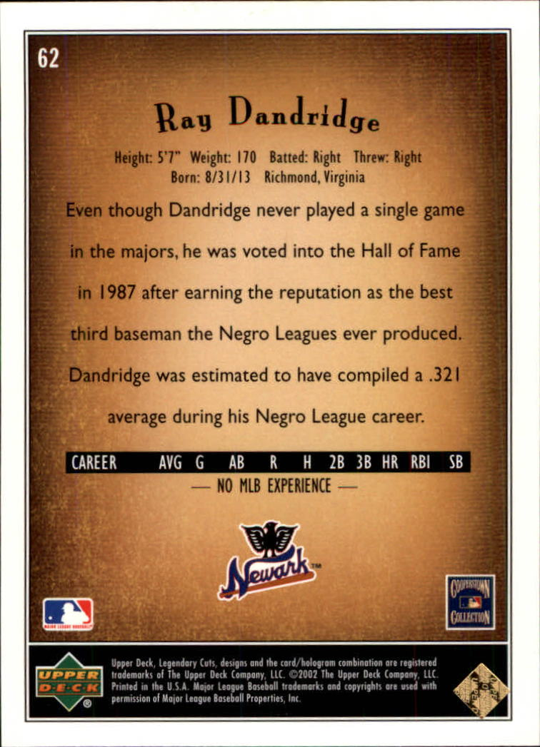 2002 SP Legendary Cuts #62 Ray Dandridge back image