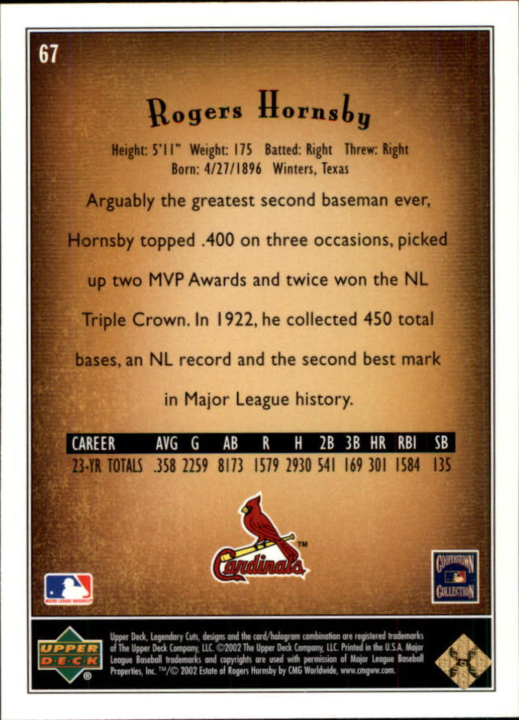 2002 SP Legendary Cuts #67 Rogers Hornsby