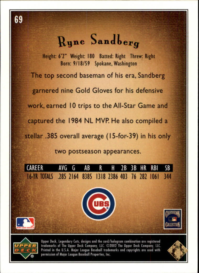 2002 SP Legendary Cuts #69 Ryne Sandberg back image
