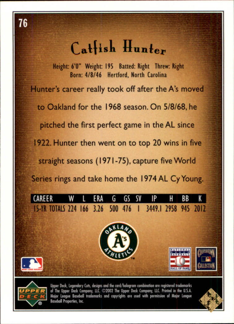 2002 SP Legendary Cuts #76 Catfish Hunter back image