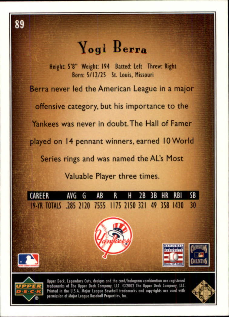 2002 SP Legendary Cuts #89 Yogi Berra back image
