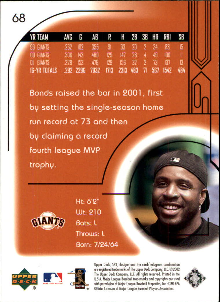 2002 SPx #68 Barry Bonds back image