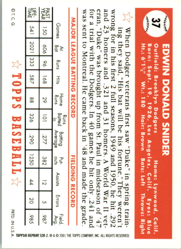 2002 Topps 1952 Reprints #52R2 Duke Snider back image