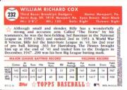 2002 Topps 1952 Reprints #52R13 Billy Cox back image