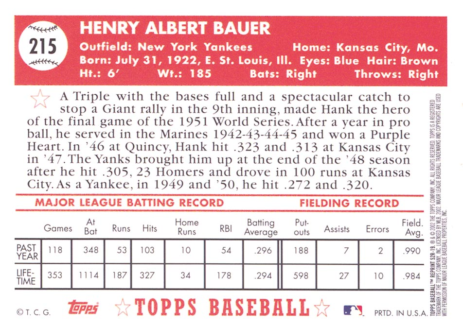 2002 Topps 1952 Reprints #52R19 Hank Bauer back image