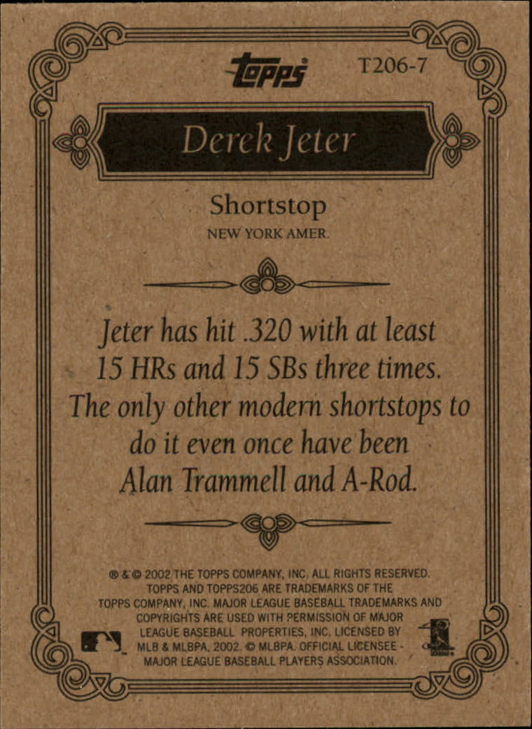 2002 Topps 206 Team 206 Series 2 #T2067 Derek Jeter back image